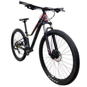 bicicleta-optimus-koruna-negro-amarillo-rosado-oblicua